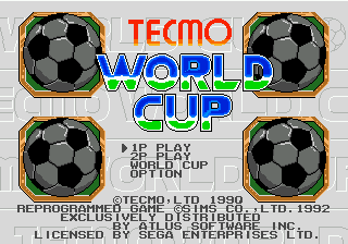 Tecmo World Cup (USA) Title Screen
